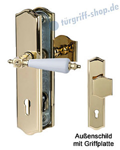 Sicura Platon Schutzgarnitur Griffplatte/Drücker Robusta Gold/weiss Südmetall