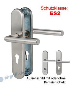Sicura Ronny-LS/LS Schutzgarnitur ES2 Drücker/Drücker Edelstahl matt von Südmetall