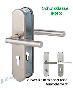 Sicura Ronny-LS/LS Schutzgarnitur ES3 Drücker/Drücker Edelstahl matt von Südmetall
