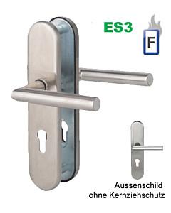 Sicura Ronny-LS/LS Feuer-Schutzgarnitur ES3 / FS Stift 9 mm, Drücker/Drücker Edelstahl matt von Südmetall