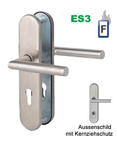 Sicura Ronny-LS/LS Feuer-Schutzgarnitur ES3 / FS Stift 9 mm, mit KZS, Drücker/Drücker Edelstahl matt von Südmetall