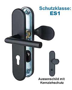 Sicura Ronny-LS/LS Schutzgarnitur ES1 Griffplatte/Drücker Schwarz matt von Südmetall