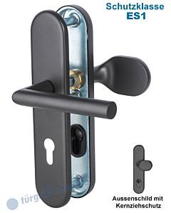 Sicura Ronny-LS/LS Schutzgarnitur mit KZS ES1 Griffplatte/Drücker Schwarzstahl-Optik von Südmetall