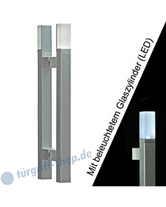 Stoßgriffpaar Solid LED 5243B/1 für Glastüren mit beleuchtetem Glaszylinder, Länge 350 mm, gerade Stütze, Aluminium Schneider + Fichtel