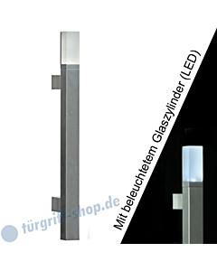 Stoßgriff Solid LED 5243B/6 mit beleuchtetem Glaszylinder, Länge 350 mm, gerade Stütze, Aluminium Schneider + Fichtel