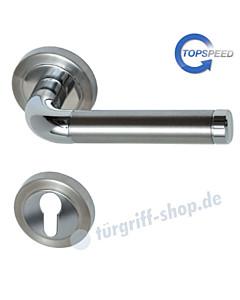 Sybille-R Rosetten-Halbgarnitur für Haustüren, Top Speed, Profilzylinder, 8 mm, GK4, Chrom / Edelstahl-matt Südmetall