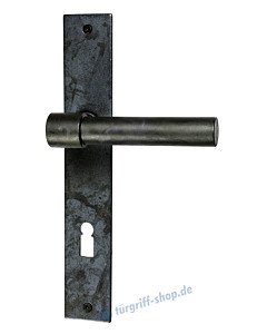 T-Bone Langschildgarnitur eckiges Langschild Schwarzstahl von Halcö