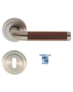 Texas-R Basic Edelstahlfarbig-matt/Lederbesatz braun Südmetall