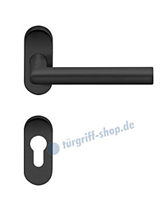 Tipo Schmalrahmen-Rosettengarnitur oval, schwarz mit Feinstruktur von Artitec Wallebroek