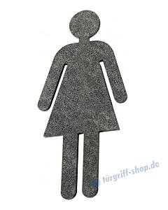 Toilettenpiktogramm Frau schwarz passiviert von Halcö