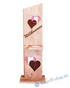 Topfständer Regensburg Höhe 115 cm Holz angeflammt mit gerostetem Metall - Gartenambiente