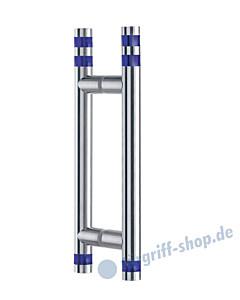 Klassik Vidrio Glastür-Stoßgriff-Paar 5132/1 | Länge 340 mm | gerade Stütze | Stange Ø 26 mm mit blauen Glaszylindern klein, Edelstahl matt von Schneider + Fichtel