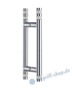 Klassik Vidrio Glastür-Stoßgriff-Paar 5133/1 | Länge 340 mm | gerade Stütze | Stange Ø 26 mm mit matten Glaszylindern klein, Edelstahl matt von Schneider + Fichtel