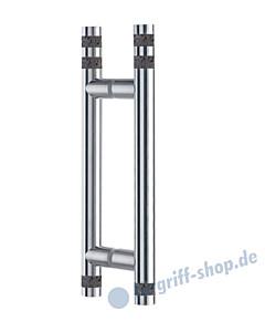 Klassik Vidrio Glastür-Stoßgriff-Paar 5138/1 mit Lavasteinzylindern klein, Edelstahl matt Schneider + Fichtel