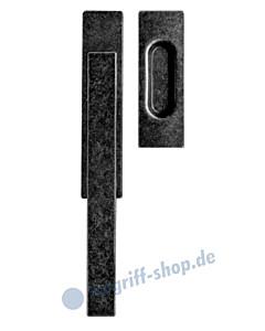 Wagrain Hebe-Schiebetürrbeschlag unverschließbar mit Griffmuschel Schmiedeeisen schwarz patiniert von Griffwelt
