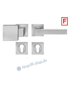 Seattle ER/FS46Q Feuerschutz-Wechselgarnitur Knopf/Drücker PZ 9 mm Edelstahl matt Karcher Designn  - Ausführung Drücker rechts zeigend (DIN rechts)