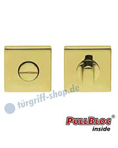 WC Rosettenpaar PullBloc quadratisch 55x55mm Messing poliert PVD Scoop