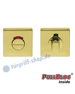 WC Rosettenpaar PullBloc quadratisch mit rot/weiss-Anzeige   55x55mm Messing poliert PVD Scoop