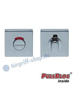 WC Rosettenpaar PullBloc quadratisch mit rot/weiss-Anzeige 55x55mm Edelstahl poliert Scoop