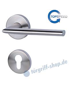 Zoe-R Rosetten-Halbgarnitur für Haustüren, Top Speed, Profilzylinder, 8 mm, GK4, Edelstahl-matt Südmetall