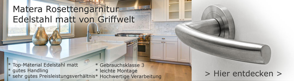 Matera Rosettengarnitur Edelstahl matt von Griffwelt