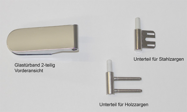 2-teiliges Glastürband - mit einem Unterteil entweder für Stahlzargen oder für Holzzargen