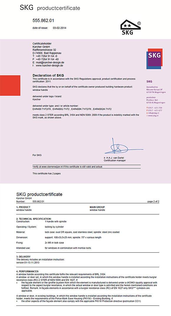 Zertifikat der abschließbaren Fensterrosetten von Karcher