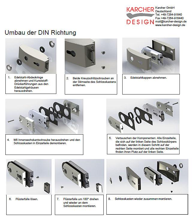 Umbau der DIN-Richtung bei Karcher Glastürschlössern
