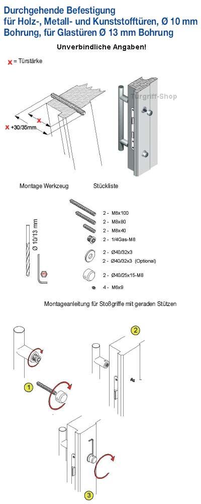 Durchschraub-Befestigung Stossgriff mit geraden Stützen