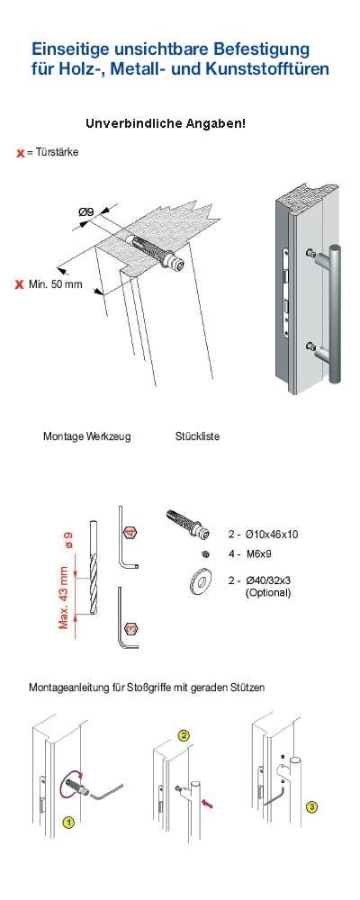 Einseitige Befestigung Stossgriff mit geraden Stützen