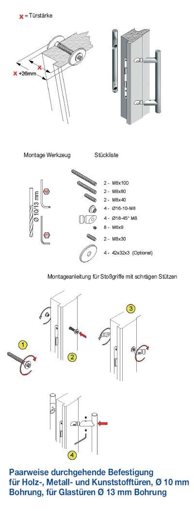 Paarweise Befestigung Stossgriff mit schrägen Stützen