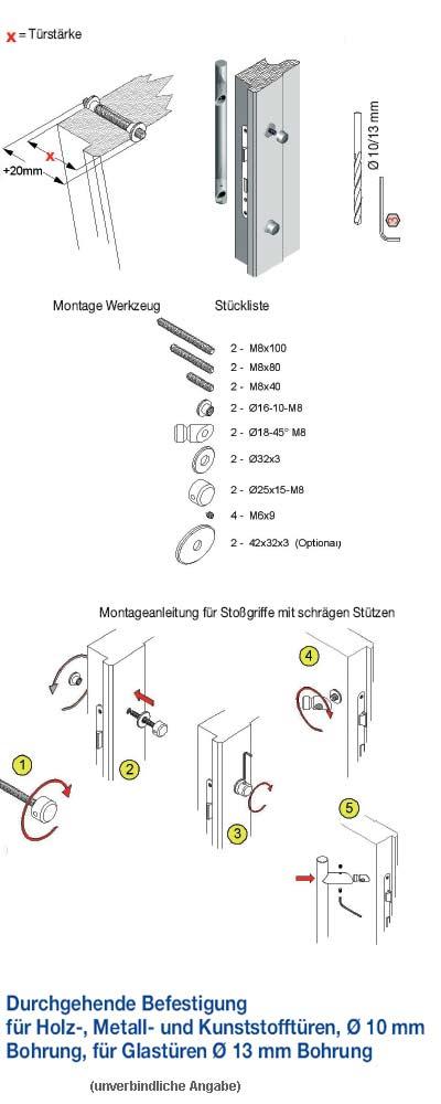 Durchschraub-Befestigung Stossgriff mit schrägen Stützen