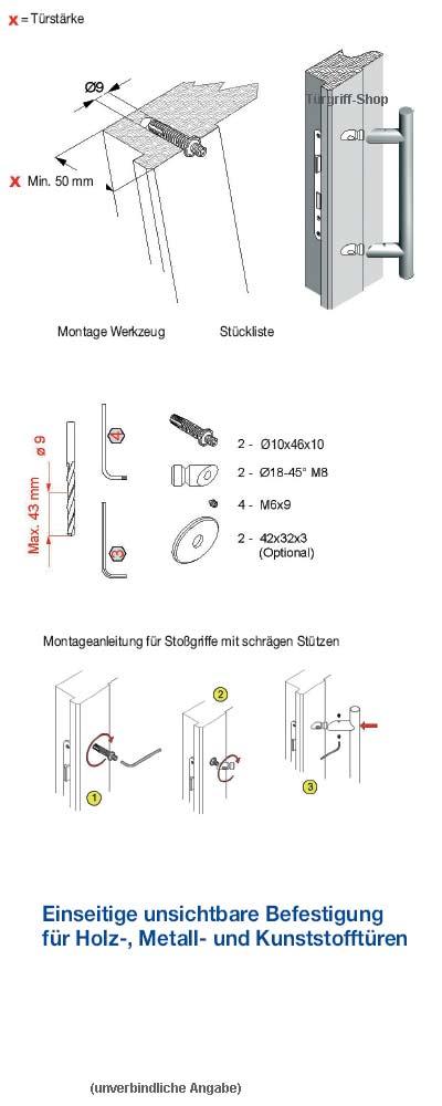 Einseitige Befestigung Stossgriff mit schrägen Stützen