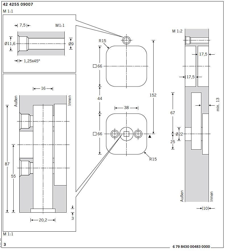 Frässzeichnung Schiebetürmuschel 42 4255 9007 von FSB