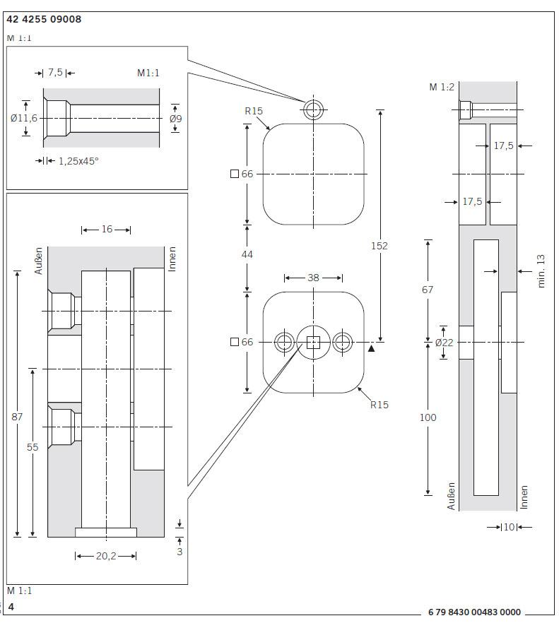 Frässzeichnung Schiebetürmuschel 42 4255 9008 von FSB