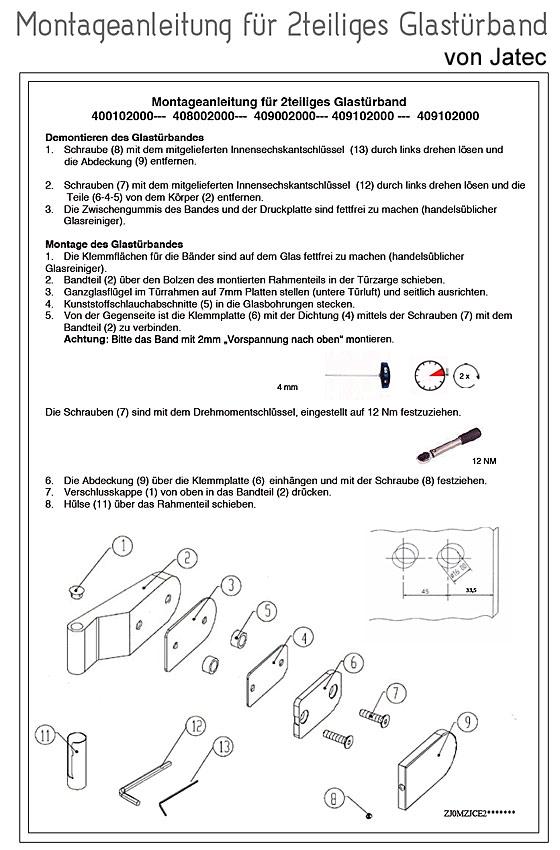 Montageanleitung 2teiliges Glastürband von Jatec
