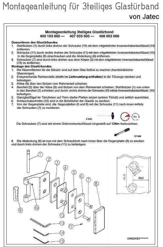 Montageanleitung 3teiliges Glastürband von Jatec