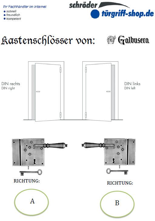 Galbusera - Auswahl der Richtung bei Kastenschlössern